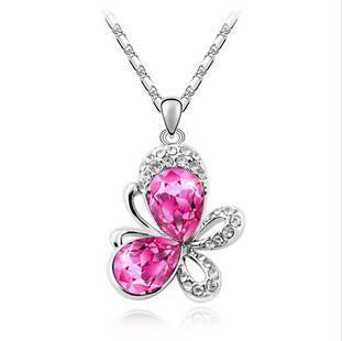 Colored Crystal Butterfly Pendant Necklace , necklace - ornacraft