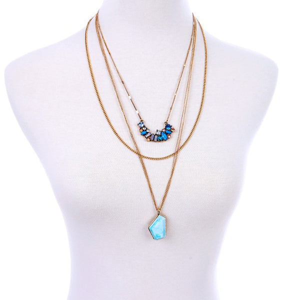 Bohemian Multilayer Geometric Pendant Necklace , necklace - ornacraft
