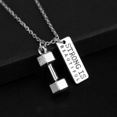 Dumbbell STRONG IS BEAUTIFUL Quote Pendant Necklace , necklace - ornacraft