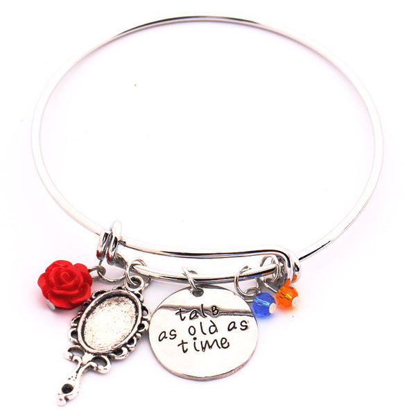 """Tale as old as Time"" Hand Stamped Bangles Bracelet"