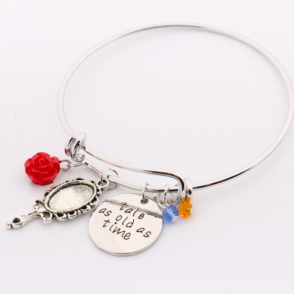 """Tale as old as Time"" Hand Stamped Bangles Bracelet , bracelet - ornacraft"