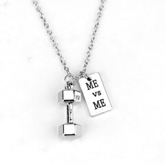 DUMBBELL WEIGHT ME vs ME Charm Necklace , necklace - ornacraft