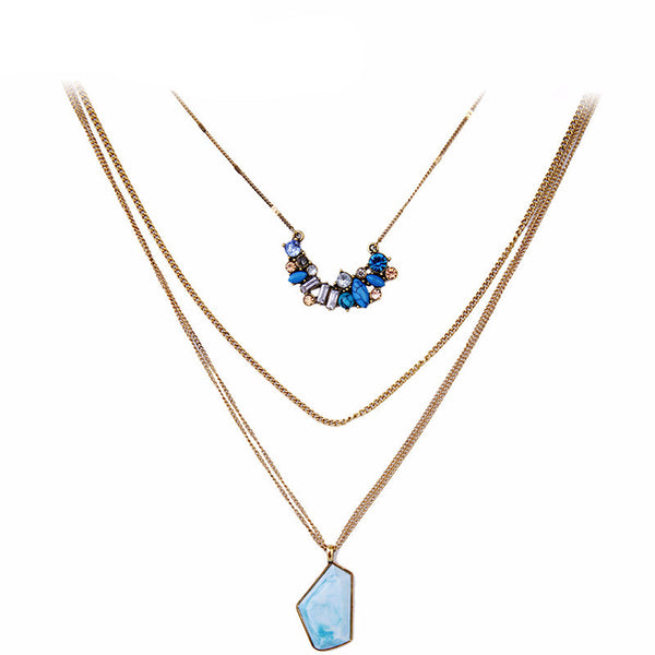 Bohemian Multilayer Geometric Pendant Necklace