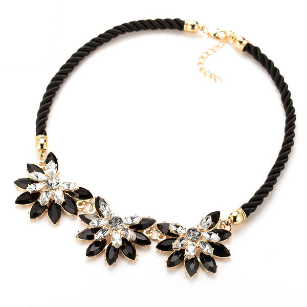 Crystal Flower Back Choker Necklace