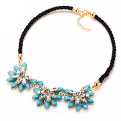 Crystal Flower Back Choker Necklace , necklace - ornacraft