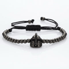 Knight Helmet 4mm Beads Macrame Bracelets [4 options] , bracelet - ornacraft