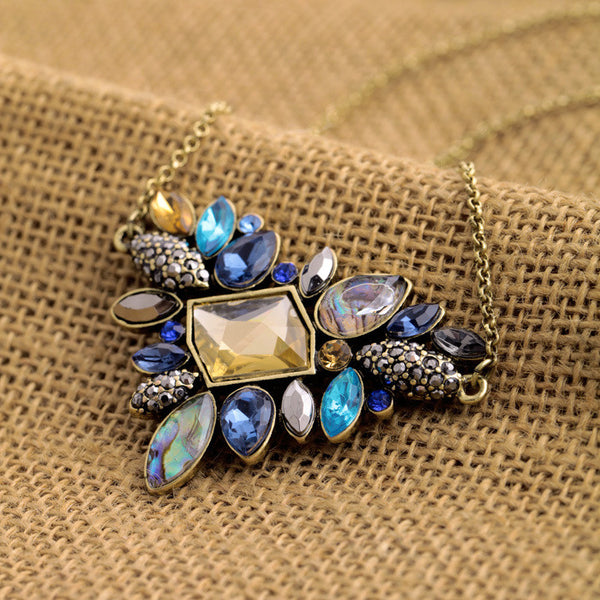 Bohemian Rhinestone Pendant Necklace , necklace - ornacraft