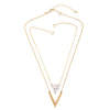 Multilayer Artificial Marble Triangle Pendant Necklace