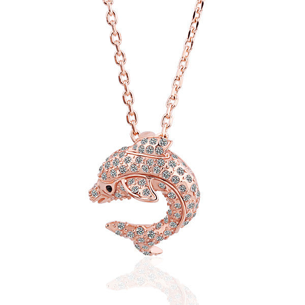 Crystal Dolphin Pendant Necklaces