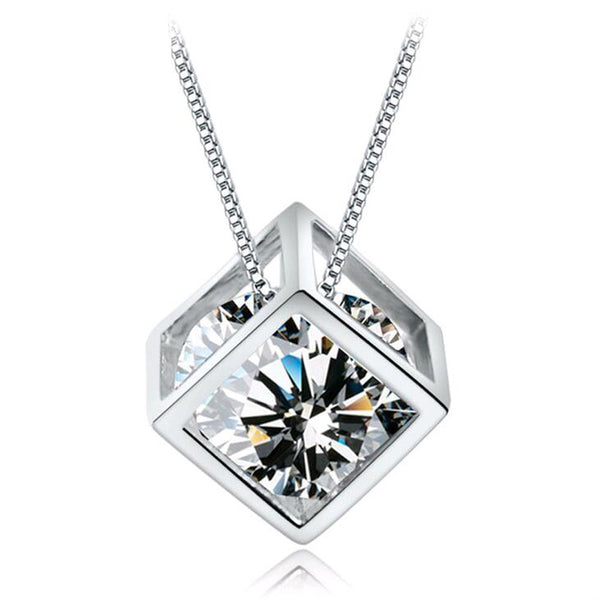Silver Transparent Zircon Crystal Square Pendant Necklace