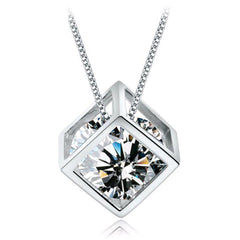 Silver Transparent Zircon Crystal Square Pendant Necklace , necklace - ornacraft