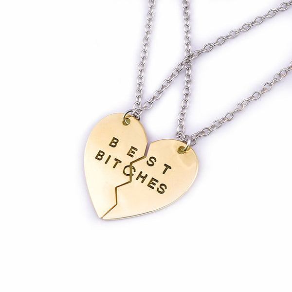 Share with Two Best Friends Gold Pendant Necklace