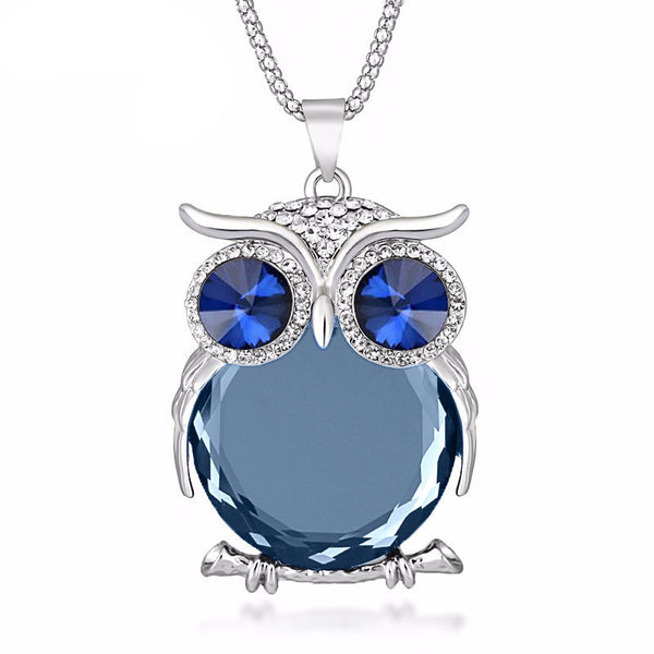 Trendy Colored Crystal Owl Pendant Necklace , necklace - ornacraft
