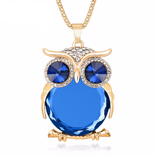 Trendy Colored Crystal Owl Pendant Necklace