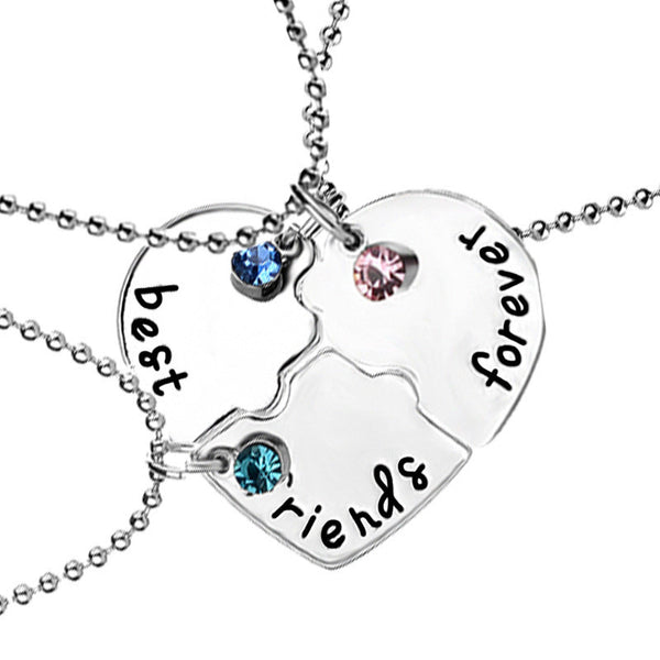 Best Friends Forever Quote Share Pendant Necklace