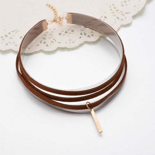 Leather Multilayer charm choker Necklace