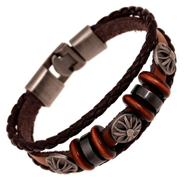 Shield Charm Leather Braided Bracelets