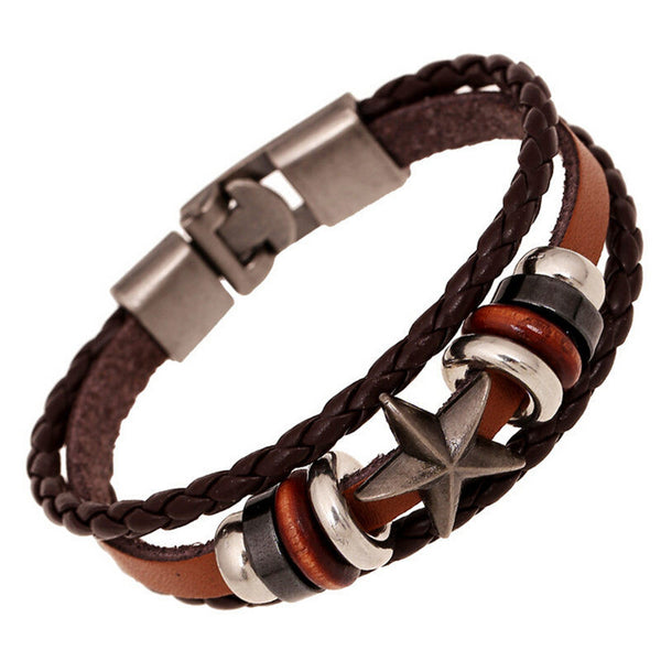 Star Charms Leather Braided Bracelet