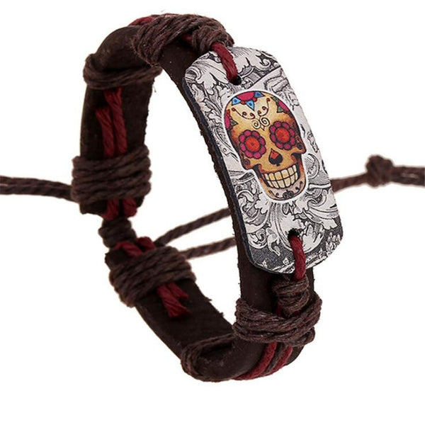 Dark Brown Leather Skull Charm Bracelets