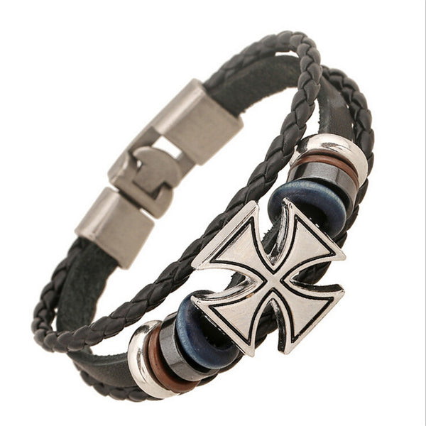 Cross Charms Braided Leather Bracelet