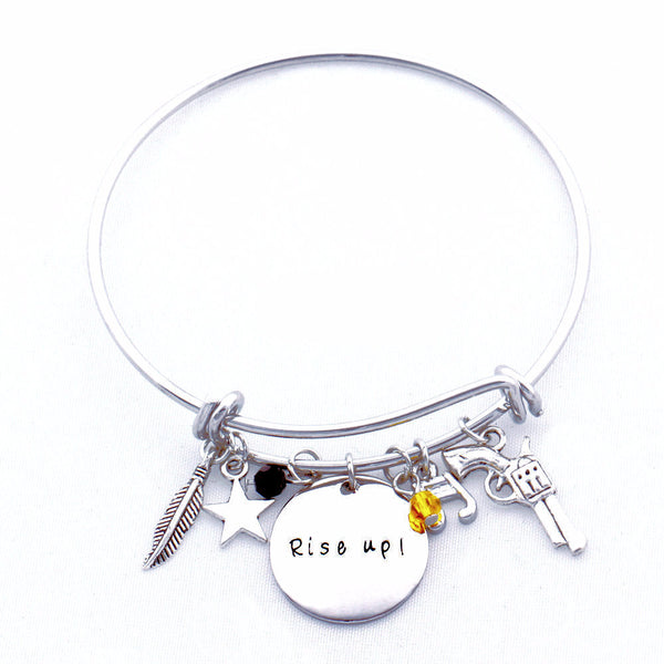 """Rise up"" Motivational Hand Stamp Bangle Bracelet"