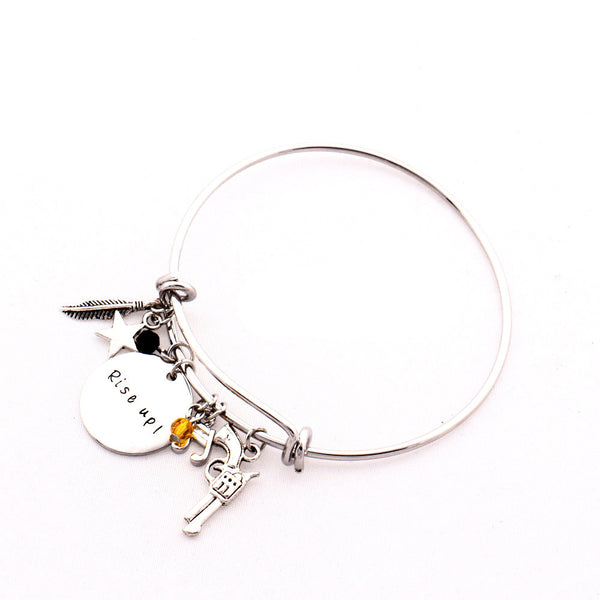 Miniature Gun, Star, feather and Crystal Motivational Charm Hand Stamp Bangle Bracelet