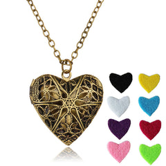 Vintage Heart Essential Oil Diffuser Pendant Necklace , necklace - ornacraft
