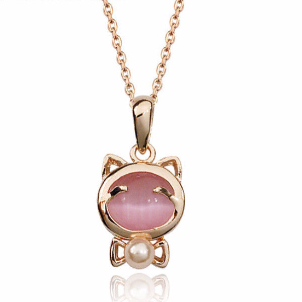 Lovely Cat Pearl Pendant Necklace