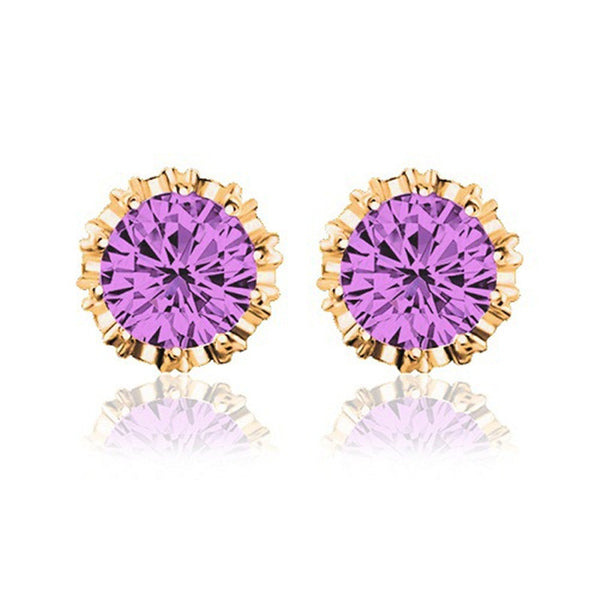 2 Carat Cubic Zircon Crown Stud Earrings [Multiple Options]