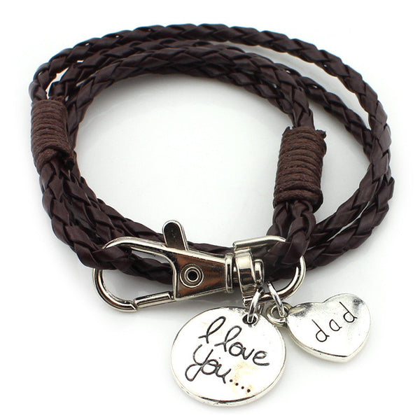 """I love you Dad"" Engraving on a Multilayer Braided Brown Leather Bracelets"