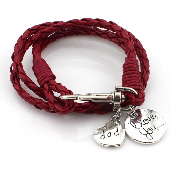 """I love you Dad"" Engraving on a Multilayer Braided Red Leather Bracelets"