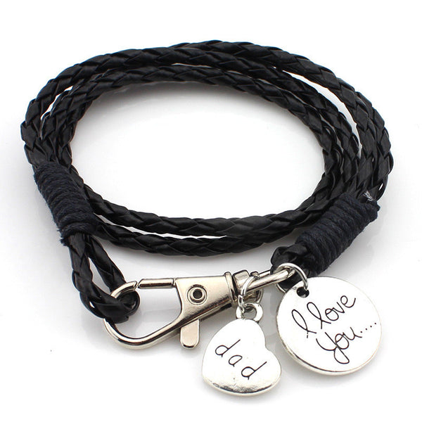 """I love you Dad"" Hand Stamped Multilayer Leather Bracelets [Multiple Colors]"