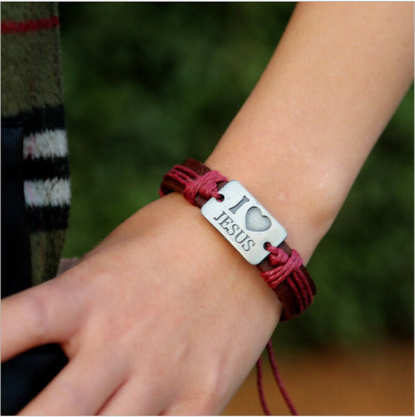 """I Love Jesus"" Brown Leather and red rope Bracelet"