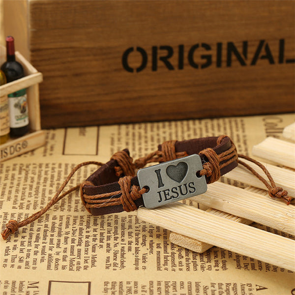 """I Love Jesus"" Brown Leather and light brown rope Bracelet"