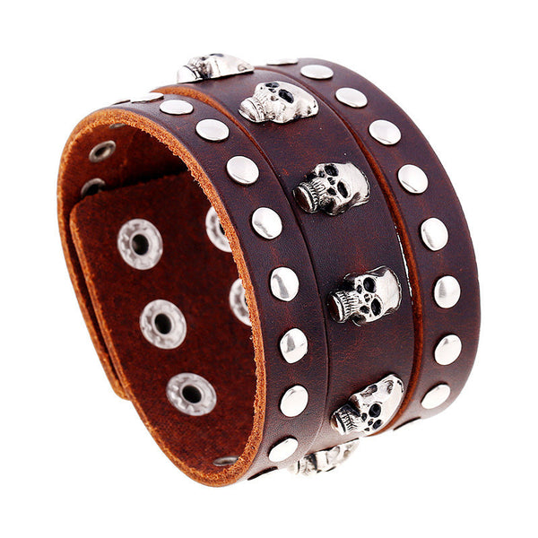 Punk Men Skull Wide Leather Bracelet