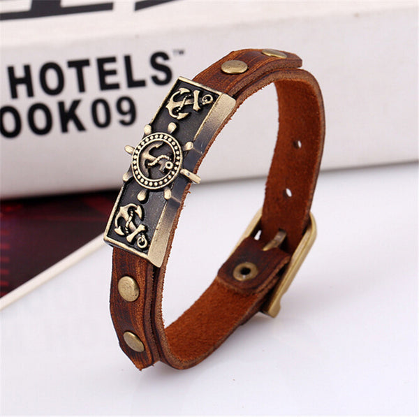 Anchor Stamp Leather Bracelet , bracelet - ornacraft