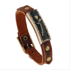 Rose Stamp Leather Bracelet , bracelet - ornacraft