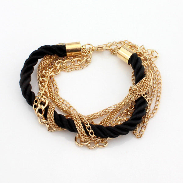 Multilayer Woven Bracelet with Chain [Multiple Colors]