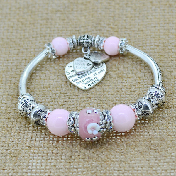 Engraved Vintage Beads and Silver Bracelet