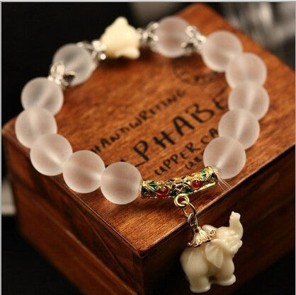Natural Matte Crystal With Sweet Elephant Charm Bracelets [Multiple Colors]