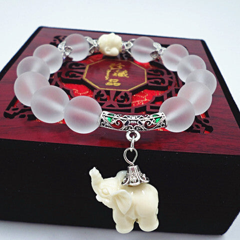 Natural Matte Crystal With Sweet Elephant Charm Bracelets [Multiple Colors] , bracelet - ornacraft