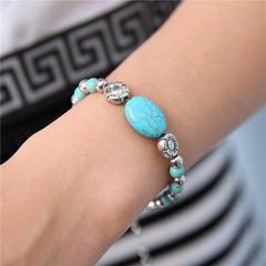 Retro Turquoise Stone Charm Beads and Chain Bracelet , bracelet - ornacraft