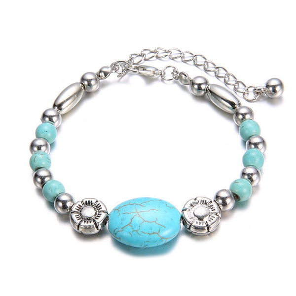 Retro Turquoise Stone Charm Beads and Chain Bracelet