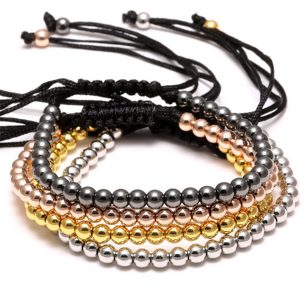 Beads And Hand-woven Black Roap Bracelet [Multiple Colors]
