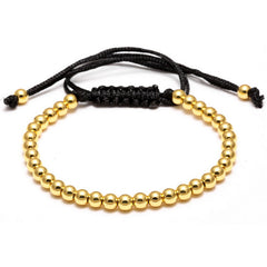 Beads And Hand-woven Black Roap Bracelet [Multiple Colors] , bracelet - ornacraft