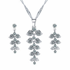 Luxurious Leaf Zirconia Necklace & Earrings Set , necklace - ornacraft