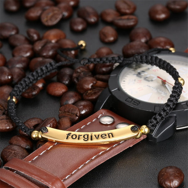 "Beautifully engraved ""Forgiven"" message on Gold Plated rope Bracelets"