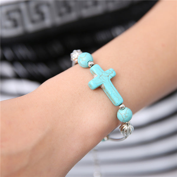 Turquoise Cross Charm Chain and Beads Bracelets , bracelet - ornacraft