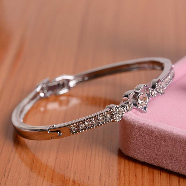 Crystal Heart Shape Charm Bangle Bracelet