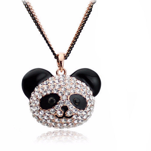 Crystal Panda Pendant Necklace , necklace - ornacraft